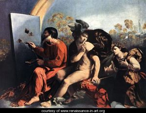 Jupiter-Painting-Butterflies,-Mercury-and-Virtue